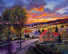 Juan Cristobal | Dernières productions Charlevoix, Cottage Art, Autumn Painting, House Art, Naive Art, Country Art, Claude Monet, Tree Art, Art World
