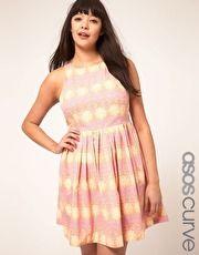 ASOS CURVE Skater Dress In Pretty Wallpaper Print