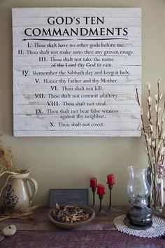 Gods Ten Commandments Inscribed On Framed Reclaimed Wood Art