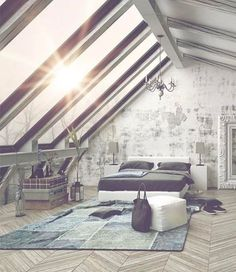 Vintage Bedroom Vintage loft-style attic bedroom with wall of skylights. - Incredible collection of 101 of custom master bedroom design ideas by top interior design professionals and custom home builders. Attic Master Bedroom, Attic Bedrooms, Bedroom Loft, Attic Loft, Skylight Bedroom, Attic Ladder, Attic House, Attic Window, Attic Bathroom