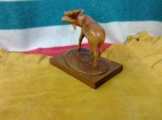 Wooden Moose handcarved in 1969 via Diggit Victoria Moose, Hand Carved, Art Pieces, Table Lamp, Carving, Victoria, Beautiful, Home Decor, Elk