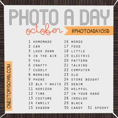 October photo a day challenge