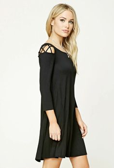 Forever 21 Contemporary - A knit swing dress featuring caged cutout shoulders, 3/4 sleeves, and a round neckline.