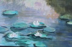 Ninfee olio su tela, ispirata da Monet Waterlilies oil on canvas