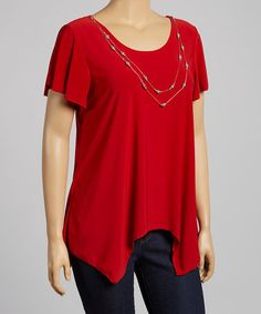 Red Necklace Angel-Sleeve Top - Plus  Attached necklace. Stretch-blend fabric: 92% polyester / 8% spandex. #zulilyfinds