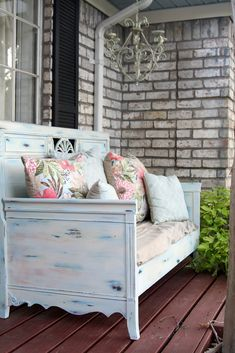 Shabby Chic Repurposed twin bed!