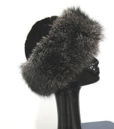 43f6e3fbbed New Black Dyed Mink   Natural Indigo Fox Cuff Hat. Fur Accessories ...