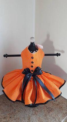 Dog Dress Orange with White Polkadots and Black Trim by