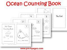 Printable Ocean Counting Book for #preschool and #kindergarten