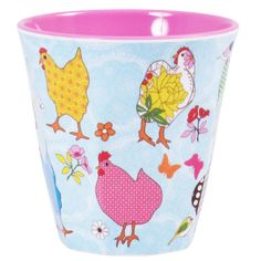 Medium Melamine Cup Two Tone Pink with Hen Print