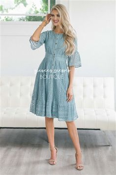 bef5721f82ce Teal Lace Bell Sleeve Nursing Dress Modest Dress , Modest Dress,  Bridesmaids Dress, Church