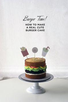 how to make a simple and stylish burger cake ... !  http://cococakecupcakes.blogspot.ca/2013/05/burger-time-burger-cake-photo-tutorial.html  #cococake #burgercake #cococakevancouver