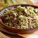 Try the Brussels Sprout Slaw - olive oil, vinegar, mustard, maple syrup, lemon, first coat and toast pecans