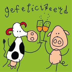 Verjaardagkaart met koe en big- Greetz