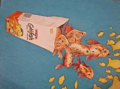 "goldfish. great idea for ""transformation drawing"""