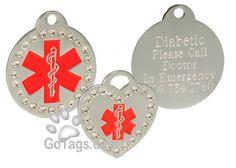 Swarovski crystal medical id tag