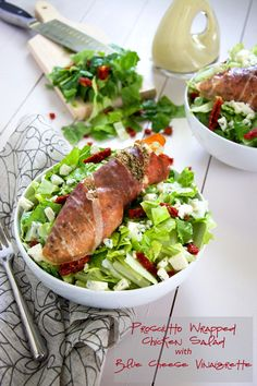 Prosciutto Wrapped Chicken Salad with Blue Cheese Vinaigrette | A wow worthy salad that comes together quickly and is so simple! #salad #blu...