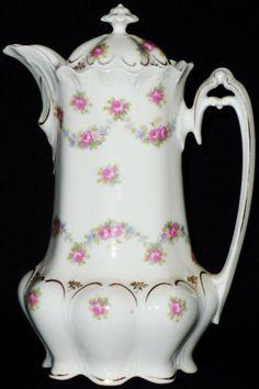 beautiful chocolate pots | ... Austria Chocolate Pot, Vintage Chocolate Pot, Pink Rose Chocolate Pot