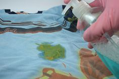 How to Remove Grease Stains:  Liquid dish detergent and white vinegar.