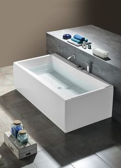 QUEST obdélníková vana 180x100x49cm, bílá : SAPHO E-shop Bath Screens, Bathtubs, Corner Bathtub, Bathroom, Shopping, Washroom, Bathtub, Bath Tube, Full Bath