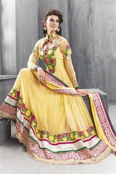 Dazzling Yellow Georgette Heavy Designer Floor Touch Anarkali Dress
