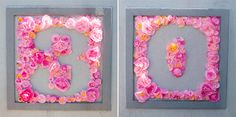 DIY paper flowers to create words/numbers in frame (via Little White Whale | flower power post)