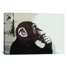 iCanvasART The Thinker Monkey By Banksy Canvas Print 2012  18x12 75 inch deep *** Want to know more, click on the image.