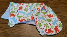 Adorable Dinosaur Bib & Burp Cloth Set - Triple Thick bib and chenille backed burp cloth for even the biggest spitter, by Sew Appealing.