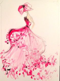 Christian Siriano's sketch of the day: pink layered satin organza gown.