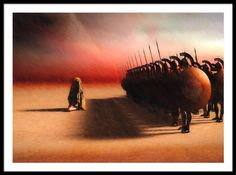 Out of Egypt - Original fine art by Bob Orsillo   Copyright (c)Bob Orsillo / http://orsillo.com - All Rights Reserved.  Buy art online.  Buy photography online    Subtitled: The Suicide of Cleopatra. The Greek army stands in formation behind a kneeling figure covered in jeweled laced shroud. In the background a sandstorm and pyramids. Conceptual art by Bob Orsillo