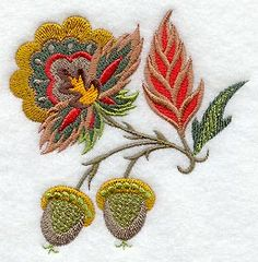 "Jacobean Autumn Acorns	Product ID:	C5359 Size:	3.4""(w) x 3.5""(h) (86.4 x 88.9 mm)	Color Changes:	11 Stitches:	15349	Colors Used:	9"