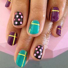 purple, green, and black nails by azusa - Nail Art Gallery nailartgallery.nailsmag.com by Nails Magazine www.nailsmag.com #nailart