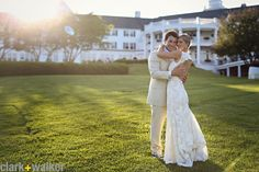 The big lawn at The Sagamore at sunset for a gorgeous wedding