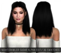 Simpliciaty: Nightcrawler`s Sugar hairstyle Alpha Edit • Sims 4 Downloads