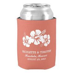 Tropical Hibiscus Flowers | Coral Wedding Can Cooler