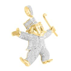 Mr Monopoly Guy Pendant Mens 14k Gold Finish Lab Diamond