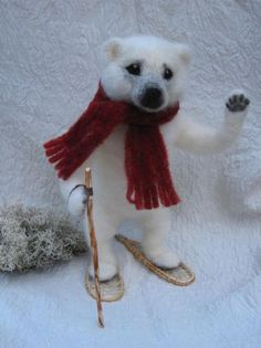 Needle felted Polar Bear with red scarf and handmade snowshoes