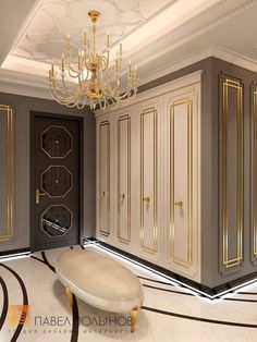 """Photo of the design of the hall from the project """"Design of an apartment in the style of a ceremonial neoclassic with elements of art deco, an elite r. Bedroom Closet Design, Home Room Design, Home Interior Design, Bedroom Decor, Flur Design, Estilo Interior, Classic Interior, Luxury Homes Interior, Luxurious Bedrooms"""