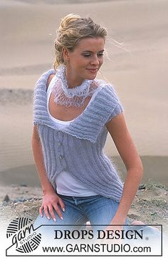 Ravelry: 90-11 a - Cardigan Vest with cap sleeves pattern by DROPS design
