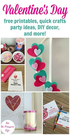 Check out all these easy Valentine's Day ideas! Simple party tips, free printable Valentine's Day cards for kids and teachers and ideas for matching treats, easy DIY decorations, gift ideas for him and her, and quick Valentine's Day crafts! via @nopressurelife #Valentines #ValentinesDay