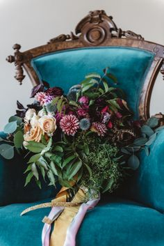 Jewel-toned bridal bouquet   Cari Courtright Photography   see more on: http://burnettsboards.com/2015/12/vintage-glam-bridal-boudoir/