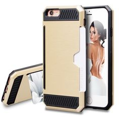 iPhone 6S Case,BAROX Card Slot Holder iPhone 6S Wallet Case Shock Absorbing Tough Bumper Cover Scratch-proof Hybrid Armor for iPhone 6/6S 4.7 inch - Gold. iPhone 6s are well protected by the Rugged TUP sleeves + anti-scratch PC cover. iPhone 6S Case: Sliding card holder wallet case for regular size Apple iPhone 6s. Best material ever to provide iPhone 6s stylish looking and comfortable holding. All access available, front raised lip, PLS buy a screen protector for more protection. Card…