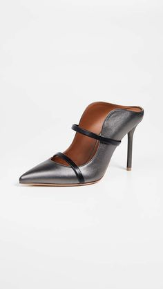 a6811db2710f Malone Souliers by Roy Luwolt Maureen 100 Mules Pumps - Metallic leather  and strappy details give