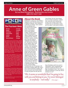 Anne of Green Gables Classic Starts  Study Guide with Answer Key by PACES Publishing, $9.99 This guide is great for homeschooling, private and public schools, and individual study! Check out PACES Publishing's etsy shop for more guides added weekly!