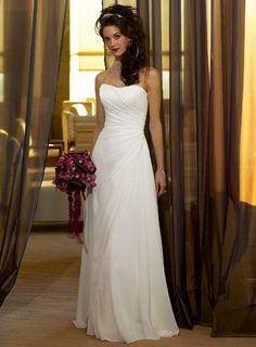 Side Draped Strapless A-line Chiffon Simple Reception Wedding Dress #winter_wedding_dresses #beach_wedding_dress #dress_for_wedding