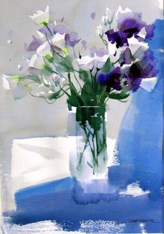 Zhao Zhiqiang watercolor via Margaret Brown. Abstract Flowers, Watercolor Flowers, Watercolor Art, Watercolour Paintings, Watercolor Background, Pinturas Em Tom Pastel, Still Life Flowers, Arte Floral, Painting Inspiration