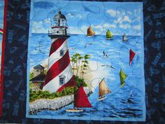 Lighthouse Quilt 55 x 65 by donnasquiltcreations on Etsy
