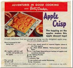 Vintage Recipes 1950S | Vintage Berry Crocker Apple Crisp recipe, Chronically Vintage recipe ...