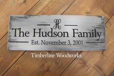 Custom Monogram Last Name sign Personalized by Timberlinewoodworks