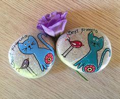#stonepainting #taşboyama #bestfriend #friends #cat #bird